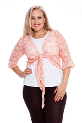 1091 Peach Sequin Lace Shrug