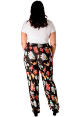 Multi Floral Print Pleated Trousers
