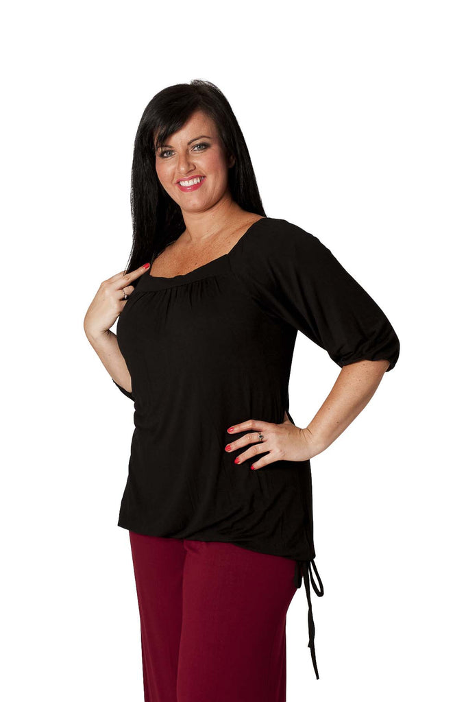 1014 Black Square Neck Tunic Top