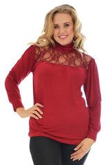1231 Wine Lace Trim Polo Neck Top