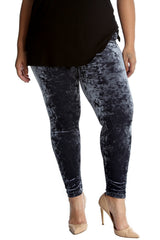 7137 Charcoal Full Length Velvet Leggings