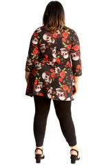 Colored Skull & Roses Print Swing Top