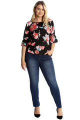 1634 Black Rose Floral Print Chiffon Top