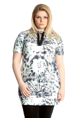 Abstract Print Eyelet Top