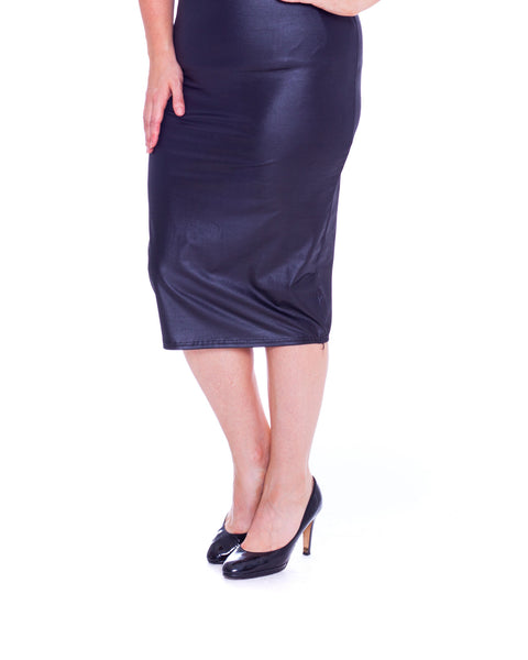 Wet Look Pencil Skirt