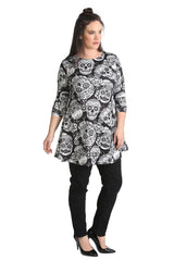 1423 White Calavera Skull Print Swing Top