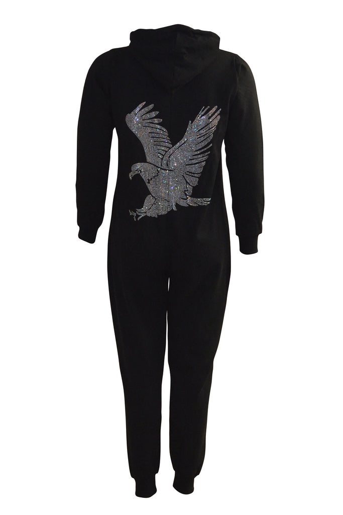 8026 Black Eagle Stud Onesie Suit