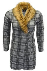 3202 Grey Tartan Print Fur Collar Coat