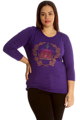 1521 Purple Crown Stud Long Sleeve T Shirt