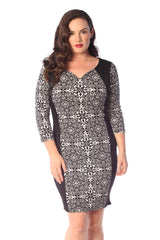 2175 White Jacquard Moroccan Bodycon Dress
