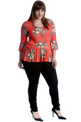 Multi Floral Print Frill Top