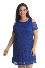 2199 Royal Blue Floral Lace Dress