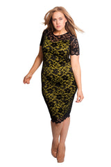 2105 Green Contrast Lace Midi Dress