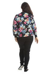 3176 Brown Foral Print Bomber Jacket
