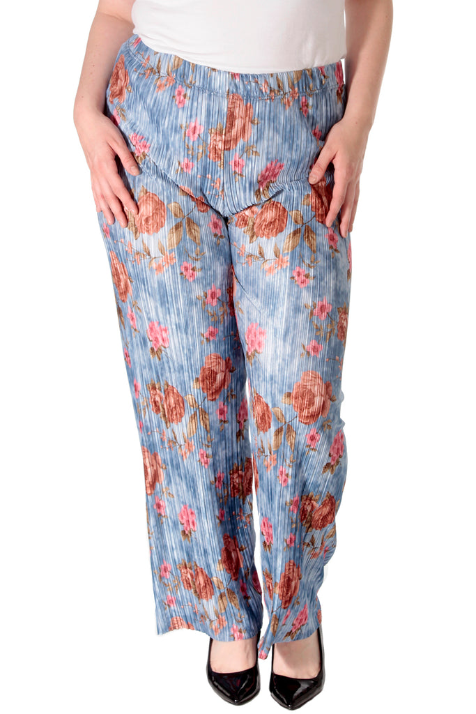 Bold Floral Print Pleated Trousers