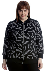 Feather Print Bomber Jacket