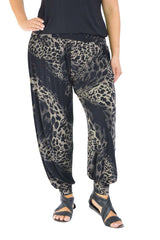 7031 Black Abstract Leopard Ali baba Trousers