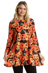 1481 Orange Halloween Pumpkin Spider Swing Top