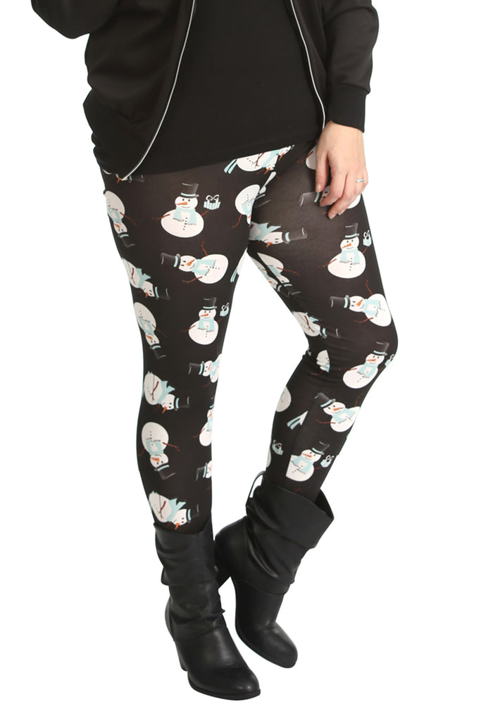 7133 Black Snowman Print Leggings 1