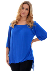1014 Royal Blue Square Neck Tunic Top
