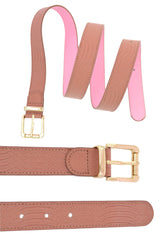 4012 Dusty Pink Snake Skin Waist And Hip Belt