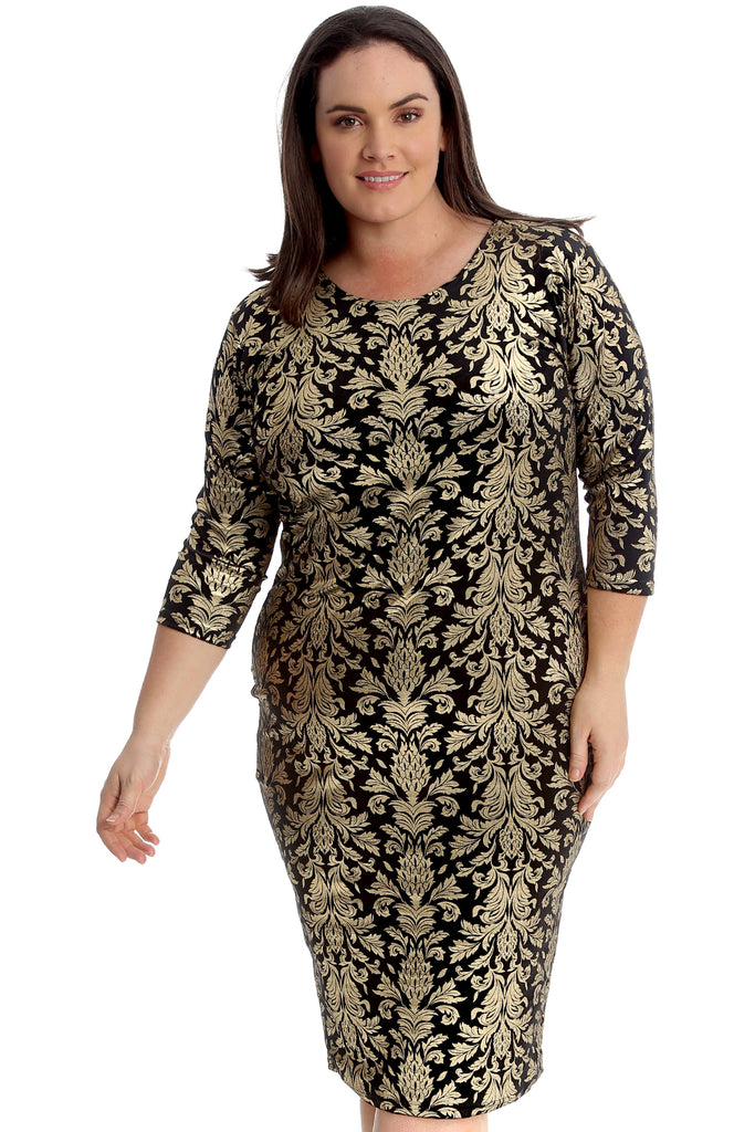 Lurex Paisley Print Midi Dress