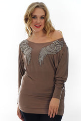1238 Mocha Angel Wing Rhinestone Slash Neck