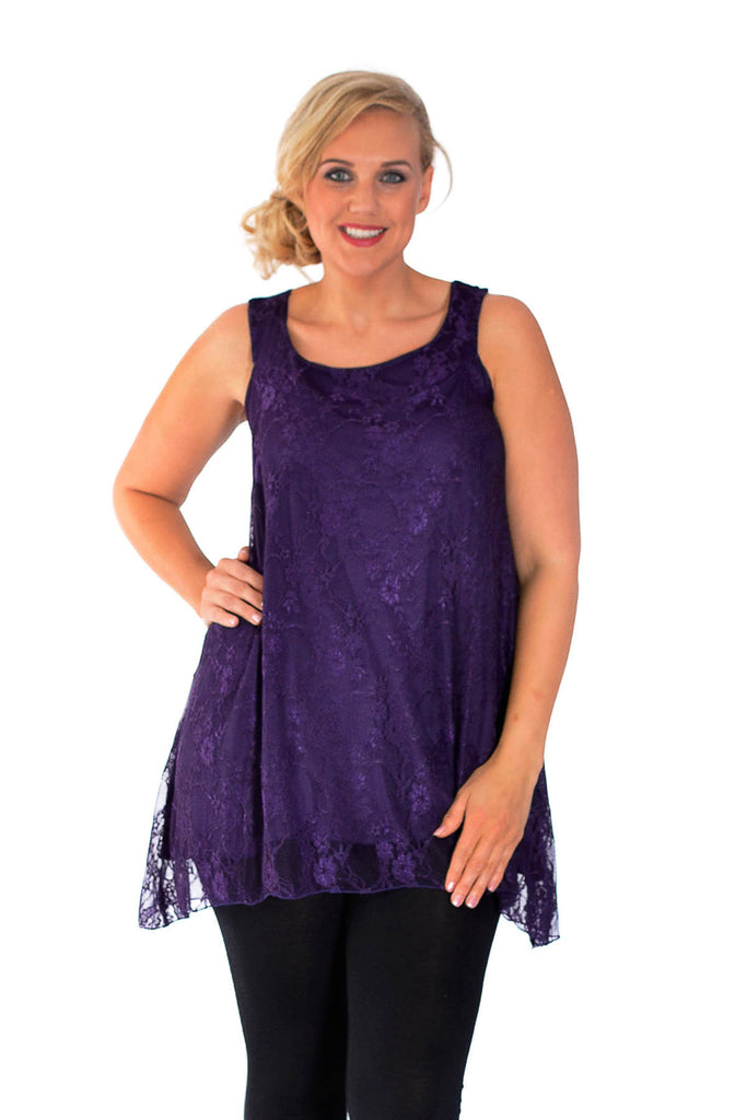 1055 Purple Sleeveless Floral Lace A-Line Top