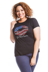 1281 Black USA Lips T Shirt