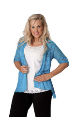 3002 Turquoise Diamonted Flower Lace Cardigan