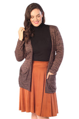 3146 Brown Space Dye Drop Pocket Cardigan
