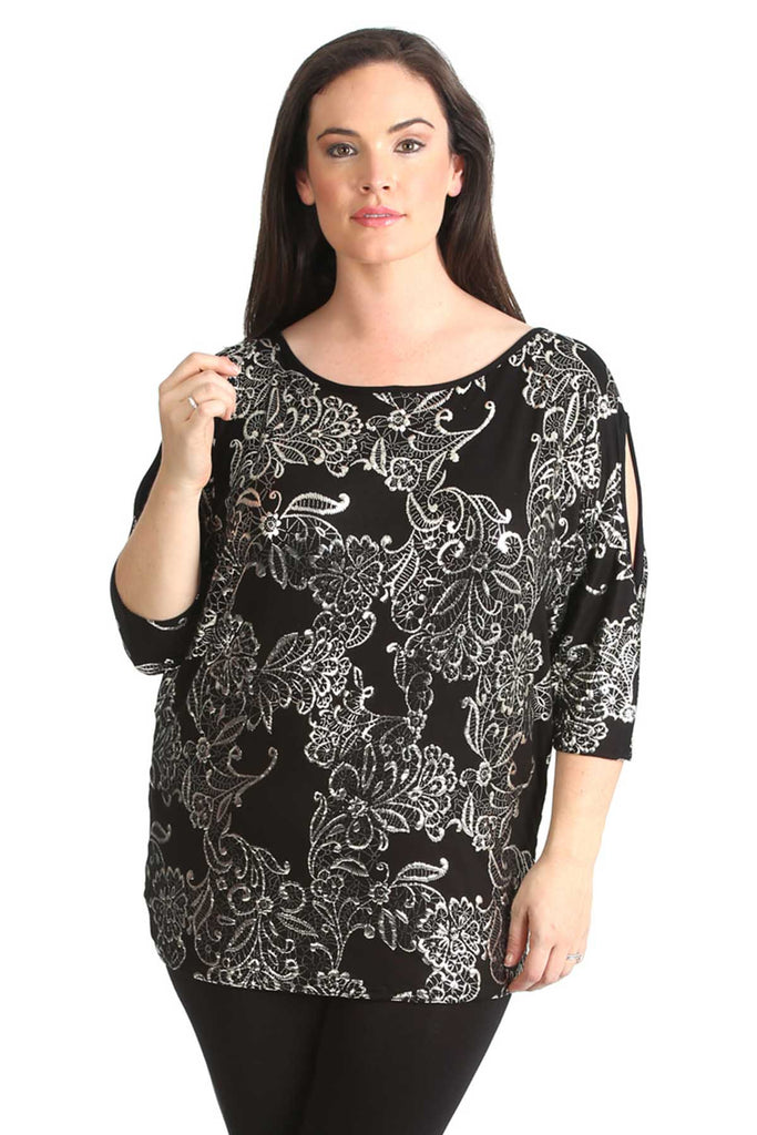 1446 Silver Floral Foil Print Cold Shoulder Top