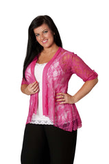 3072 Cerise Diamante Button Sleeve Cardigan