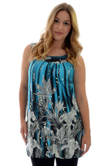 1123 Turquoise Flower Print Sequin Sleeveless Top