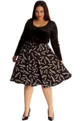 5030 Black Feather Print Skater Skirt
