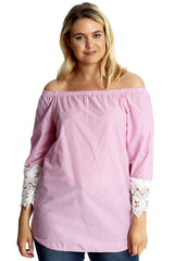 1644 Pink Crochet Lace Sleeve Cotton Top