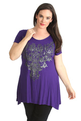 1376 Purple Glitter Beaded Top