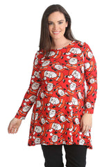 1436 Red Santa with Hat Print Swing Top