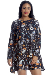 Dancing Skeleton Pumpkin Print Swing Top