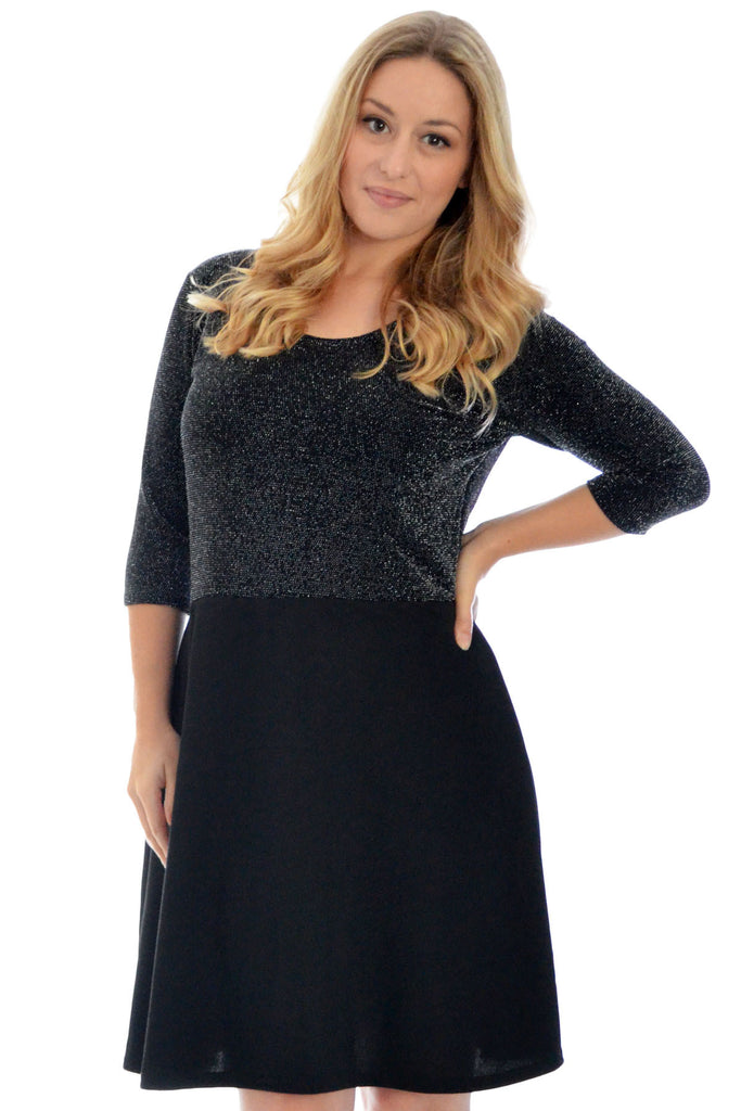 2128 Black Lurex Top Skater Dress