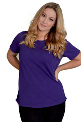 1270 Purple Crepe Dip Hem Top