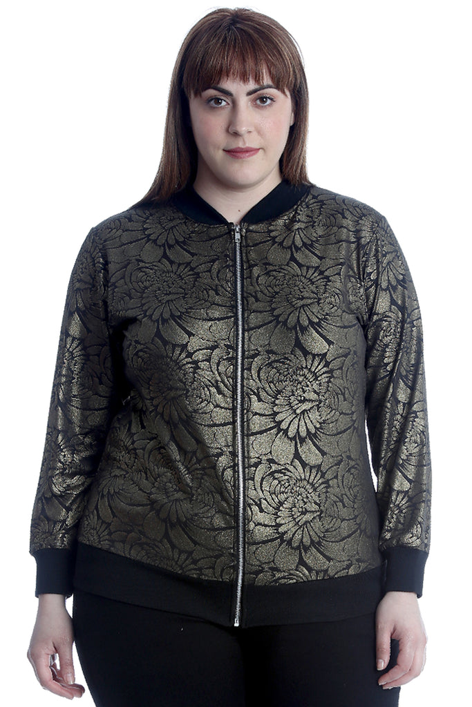 Metallic Floral Embossed Bomber Jacket