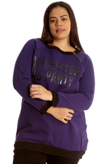3124 Grey No Glitter No Party Print Zip Sweatshirt