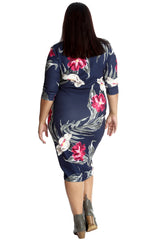 2245 Navy Blue Bold Floral Print Midi Dress
