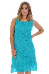 2068 Turquoise Flapper Lace Lined Dress