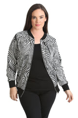 3195 White Textured Jacquard Bomber Jacket 1