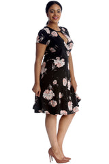 Floral Print Crossover V Neck Dress