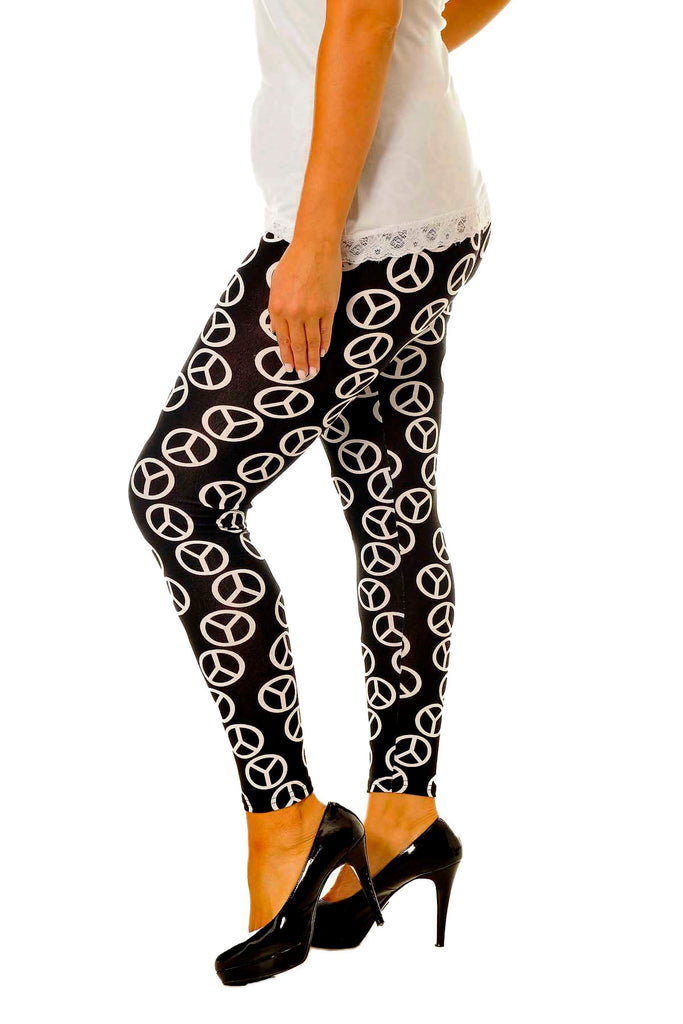 Peace Sign Print Leggings