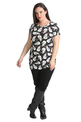 1434 Black Snowman And Flakes Print Top