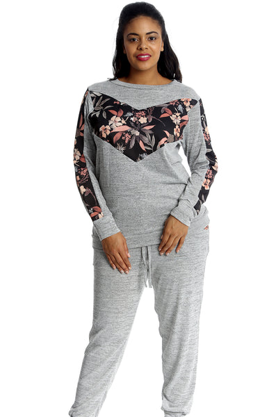 Floral Patch V Style Track Suit